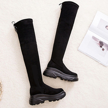 Warm Winter Boots Women Platform Sexy Over The Knee Boots Sexy Boots Female Leather Black Thigh High Boots Rubber Shoes Women недорого