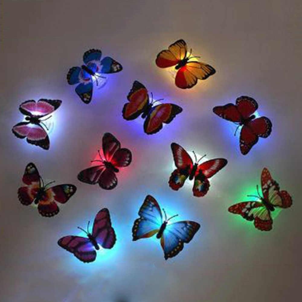 Kreative Bunte LED Schmetterling Nacht Licht 3D Stereo Simulation Schmetterling Wand Aufkleber Wand Dekoration LED Nachtlicht Lampe