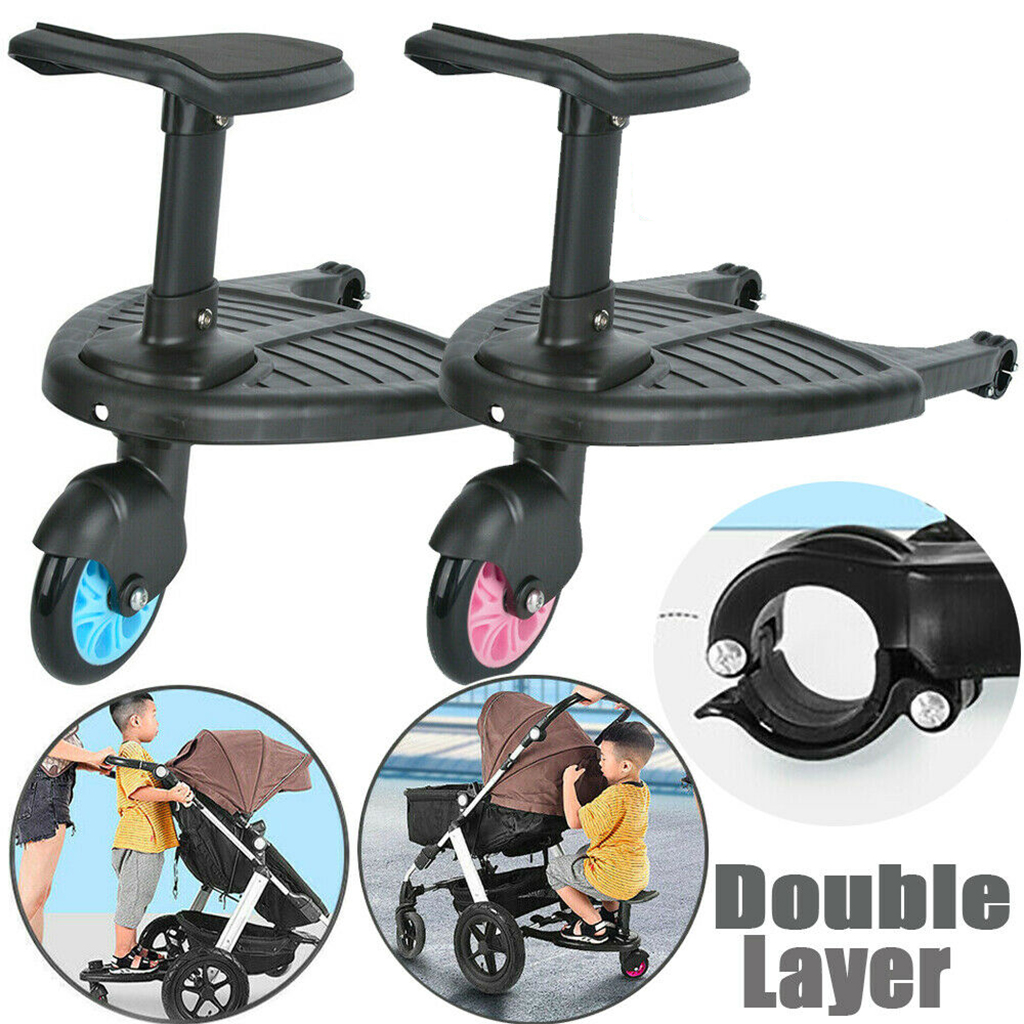 Buggy Stroller Step Board Stand Child Wheeled Pushchair Connector with Seat
