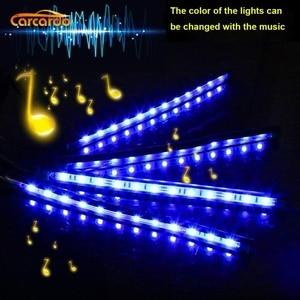 Image 2 - Carcardo Voice Control Car LED Atmosphere Light Lamp 8 Color RGB Glow Car Decoration Strip Light Car LED Auto With Controller