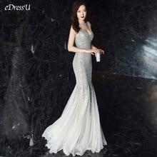 סקסי בת ים שמלת ערב עמוק V צוואר נצנצים ארוך שמלה אלגנטי Vestido דה פיאסטה Robe Ruffules פורמליות שמלת YNY 16538 #