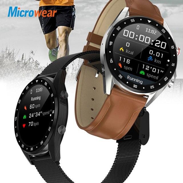 Microfones relógio inteligente l7 pressão arterial/bluetooth/gps/monitor de sono relógio inteligente fitness men women