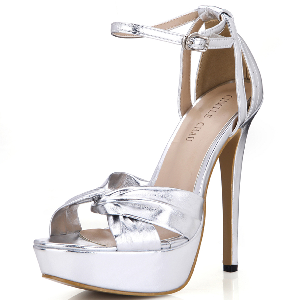 CHMILE CHAU Silver Metallic PU Sexy Party Women Shoes Open Toe Stiletto High Heel Ankle Strap Platform Buckle Sandals 3463SL-b3