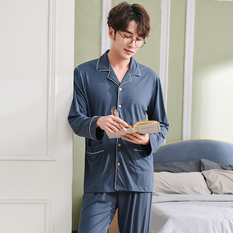 Men's Pajamas Spring Long Sleeve Modal Cotton Pyjamas Sleepwear Male Simple Lounge Pajama Sets Plus Size Nightwear M-3XL