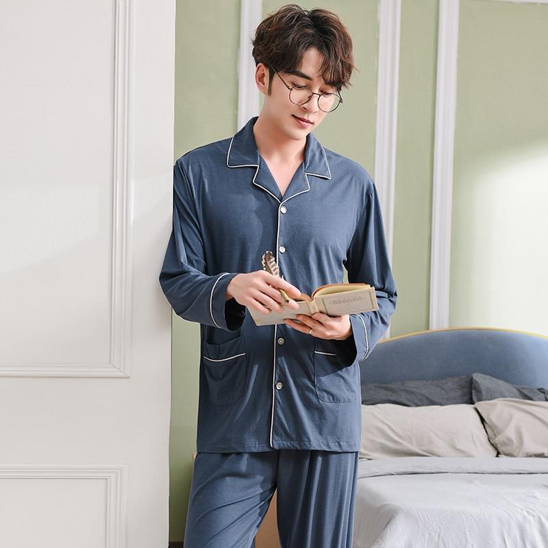 Men's Pajamas Spring Long Sleeve Modal Cotton Pyjamas Sleepwear Male Simple Lounge Pajama Sets Plus Size Nightwear M-3XL
