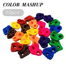 10 Pieces Mixed Color Plastic Children Kids Rock Climbing Wooden Wall Stones Hand Feet Holds Grip Kits W / Screws Random Color(China)