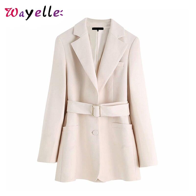 Womens Blazers 2019 Fall OL with Belted Pockets Women Coats Long Sleeve Korean Outerwear Women Jackets Elegant Chic Women Coats