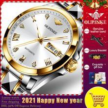 Męskie zegarki OUPINKE Top marka zegarki ze stali nierdzewnej mechaniczne w pełni zegarki automatyczne zegarki biznesowe mechaniczne zegarki tanie tanio 5Bar CN (pochodzenie) Przycisk ukryte zapięcie Mechaniczna Ręka Wiatr 20cm Wolfram stali Odporny na wstrząsy Auto data