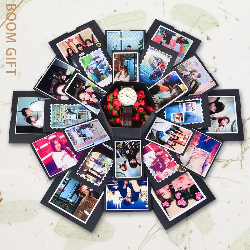 Hexagon Surprise Explosion Box DIY Handmade Scrapbook Photo Album Wedding Gift Box for Valentine Christmas Gift Boxes 3