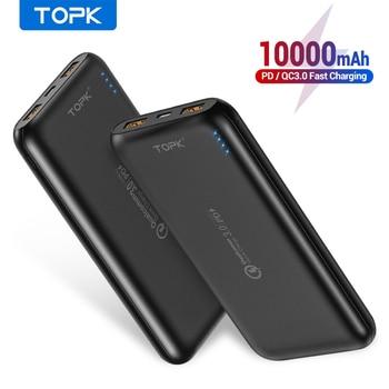 TOPK 10000mAh batterie externe 18W Charge rapide 3.0 Type C PD Charge rapide Powerbank chargeur de batterie externe pour téléphones mobiles