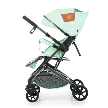 Ultra-light Portable Folding Stroller Two-way Can Sit Reclining Four-Wheel Shock Absorber Baby Stroller Reversing Mini Pocket stroller can sit reclining light portable simple folding high landscape two way shock baby stroller