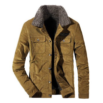 Mcikkny Men Winter Corduroy Jackets Outwear Fur Collar Fleece Lined Jackets Coats For Male Size M-4XL Thermal