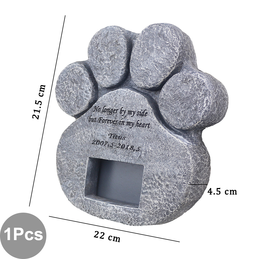 Image 3 - Memorial Tombstone for Pet Keepsake Gravestone Tomb Dog Cat Paw Print Animal Funeral Footprint Shaped Can Put PhotosPet Gravestones   -
