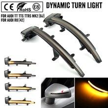 עבור אאודי TT TTS MK2 8J 2007 2014 TTRS R8 LED דינמי הפעל אות אור סדרתית צד כנף מראה מחוון מנורת נצנץ לקצץ 5