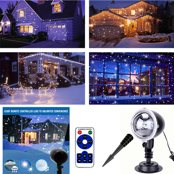 Sale Christmas Lights Snowflake LED Projector Light Waterproof Moving Snow Laser Projector For Party Fairy Light Home Garden D30 christmas market snow garden