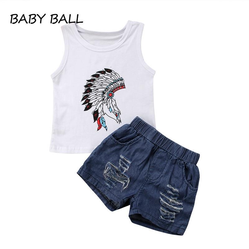 Denim Jeans Short Pants Kids Clothes Outfit Set Toddler Baby Girl Top Vest