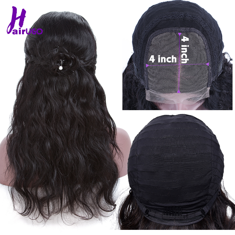HairUgo Malaysia Body Wave Wigs 4*4 Lace Closure Wig 100% Human Hair Wigs Remy Lace Wig Pre Plucked Hairline For Black Women