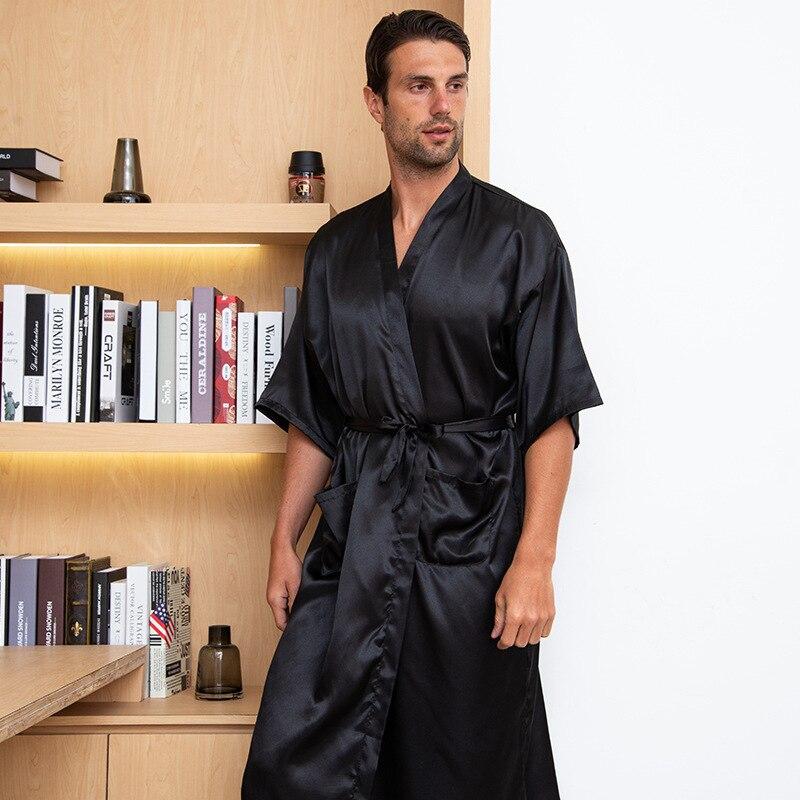Loose Men Robe Sexy Male Summer New Sleepwear Bathrobe Satin V-Neck Kimono Bath Gown Long Casual Nightgown Intimate Lingerie