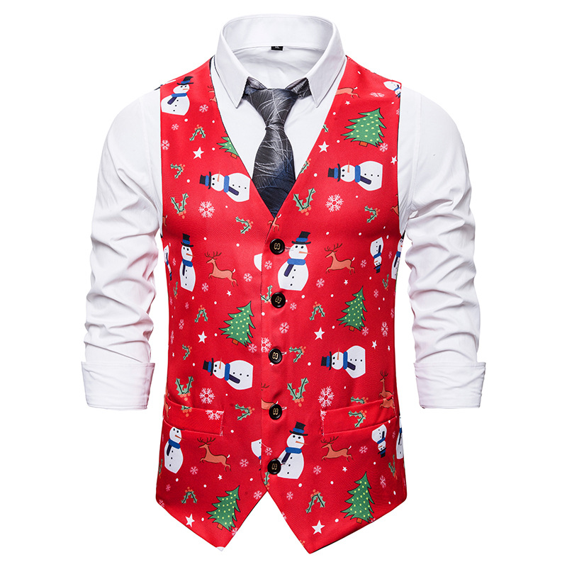 Red Christmas Vest Men 2019 Brand V Neck Slim Fit Vest Waistcoat Men Xmas Party Stage Singers Vests Men Gilet Costume Homme XXL