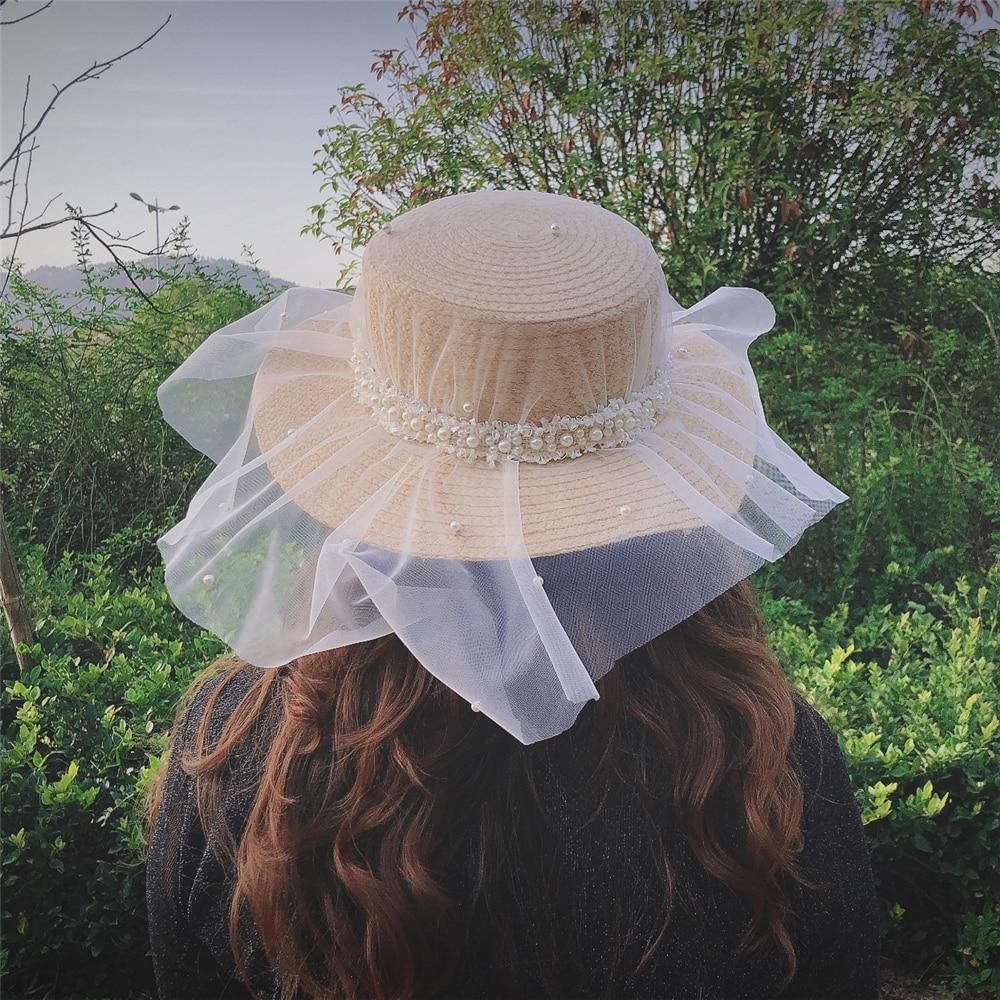 New Fashion Design Women Wedding Pearl Raffia Hat Ladies Elegant Veil Beach Hats White Church Cap Straw Sun Hat Wholesale