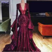 Женское вечернее платье русалка Бордовое с блестками длинным