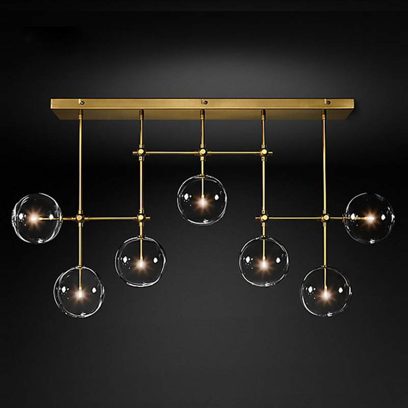 Gold Or Black LED Chandeliers Modern Nordic G4 Clear Glass Ball Chandelier Lighting Living Room Restaurant Bedroom Hanging Lamp