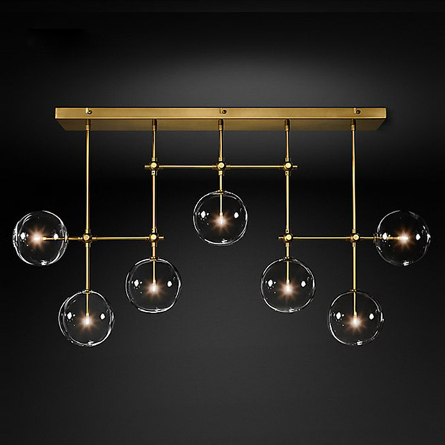Gold or Black LED Chandeliers Modern Nordic G4 Clear Glass Ball Chandelier Lighting Living Room Restaurant Bedroom Hanging Lamp