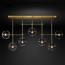 الذهب أو الأسود LED الثريات الحديثة الشمال G4 كرة زجاجية نقية أضواء الثريا غرفة المعيشة مطعم غرفة نوم مصباح معلق