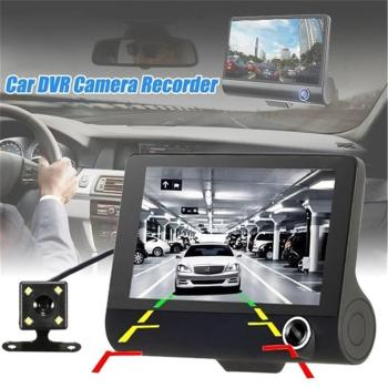 4.0 Inch Car DVR 3 Cameras Lens Dash Camera Dual Lens With Rearview Camera Video Recorder Dash Cam Auto Registrator Dvrs CSV image