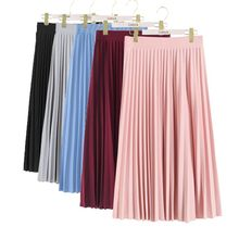 Women Fashion High Waist Pleated Solid Color Mid calf Lengt Skirt All match chiffon Clothing Lady Casual Stretchy Thicken Skirts