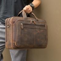 MAHEU Top Qaulity Marke Aktentasche Tasche Für Männer Männliche Business-tasche Vintage Designer Handtasche Laptop Aktentasche Crazy Horse Leder