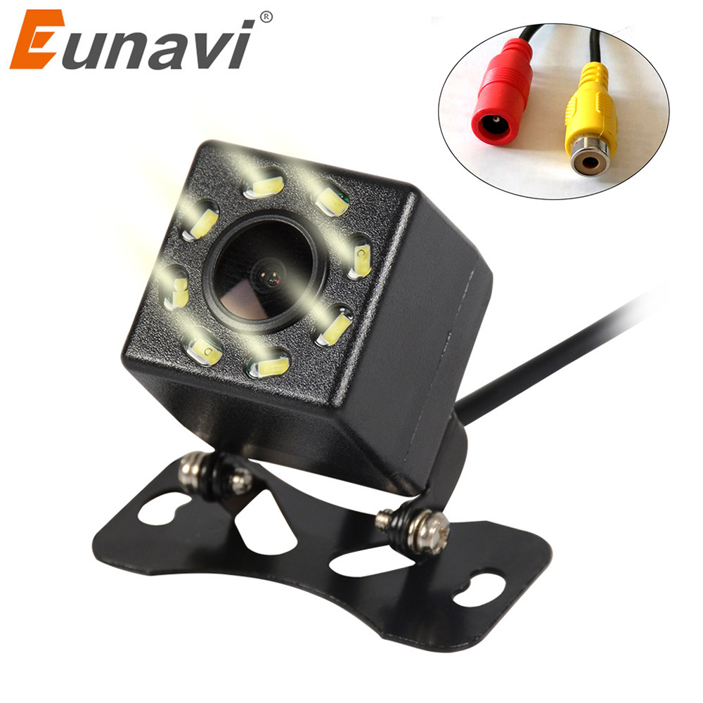 Eunavi 8 LED Night Vision Car Rear View Camera Universal Backup Parking Camera Waterproof Shockproof Wide Angle HD Color Image