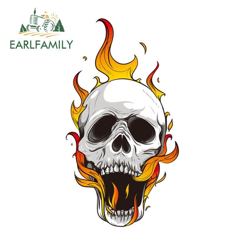 EARLFAMILY 13cm x 7.03cm Cool Car Accessories Cartoon Skull Flames Decal Motorcycle Helmet Car Stickers Window Bumper Vinyl