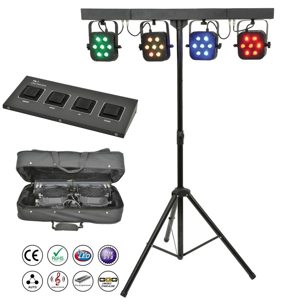 Free Shipping led par kit 4pcs 7x10W 4in1 RGBW led slim flat par lights with light stand DMX controller bag package set DJ Disco