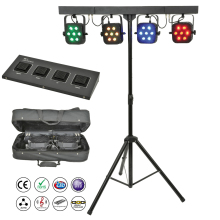 Free Shipping led par kit 4pcs 7x10W 4in1 RGBW slim flat lights with light stand DMX controller bag package set DJ Disco