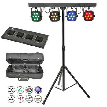 Free Shipping led par kit 4pcs 7x10W 4in1 RGBW led slim flat par lights with light stand DMX controller bag package set DJ Disco - DISCOUNT ITEM  20% OFF All Category