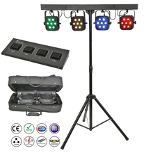 Frete Grátis levou kit par 4pcs 7x10W 4in1 RGBW luzes led par liso fino com luz stand conjunto pacote de saco DJ Disco DMX controlador