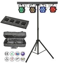 Kit de luces led par de 4 Uds., 7x10W, 4 en 1, RGBW, par plano Delgado, con soporte de luz, bolsa controladora DMX, paquete, DJ, Disco, envío gratis