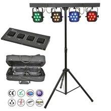 משלוח חינם led par ערכת 4pcs 7x10W 4in1 RGBW led slim שטוח par אורות עם אור stand DMX בקר תיק חבילה סט DJ דיסקו