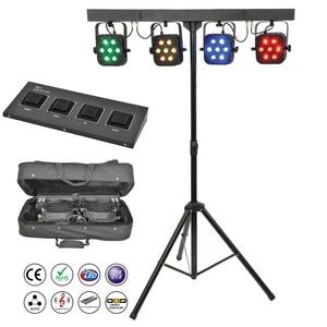 Image 1 - משלוח חינם led par ערכת 4pcs 7x10W 4in1 RGBW led slim שטוח par אורות עם אור stand DMX בקר תיק חבילה סט DJ דיסקו