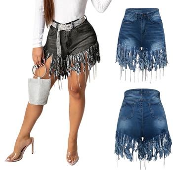 Fashion Female Fringed Sanded Jeans Shorts Spring Summer Women Plus Size Sexy Tassels High Waist Denim