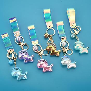 Holographic Shiny Solid Color Cartoon Horse Pon-y Foal Bag Decor Pendant Keychain image