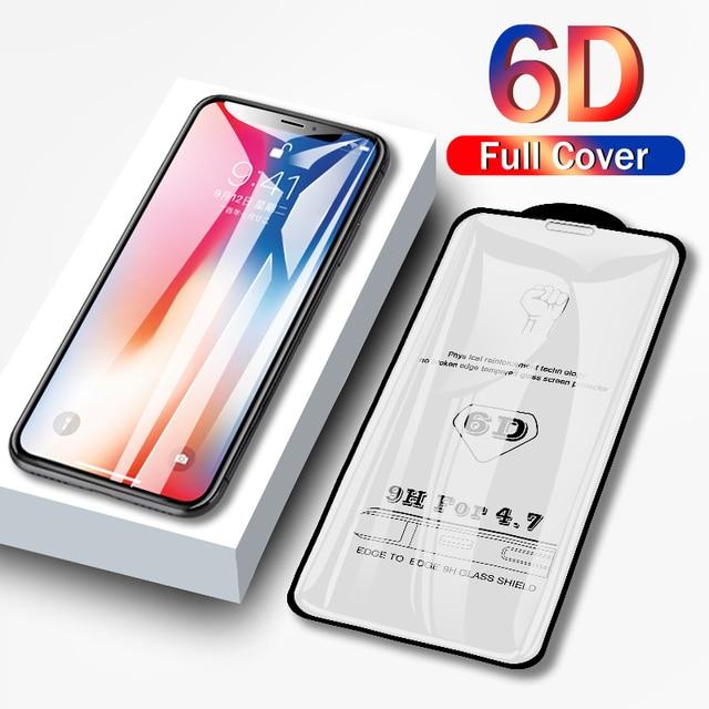 6D フルカバー強化ガラス 8 7 6 6 s プラス x xs 最大ガラス iphone 7 8 x スクリーンプロテクター保護ガラス iphone 7