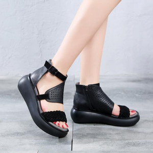 Image 4 - GKTINOO Womens Summer Sandals Genuine Leather Handmade Ladies Shoes 2020 Summer Thick Sole Women Retro Sandals Buckle Shoes