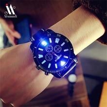 Men Watches Fashion 7 Color lights Glow Watches Men's Quartz Silicone Band Sports Watches Big Watch Man Clock horloges mannen
