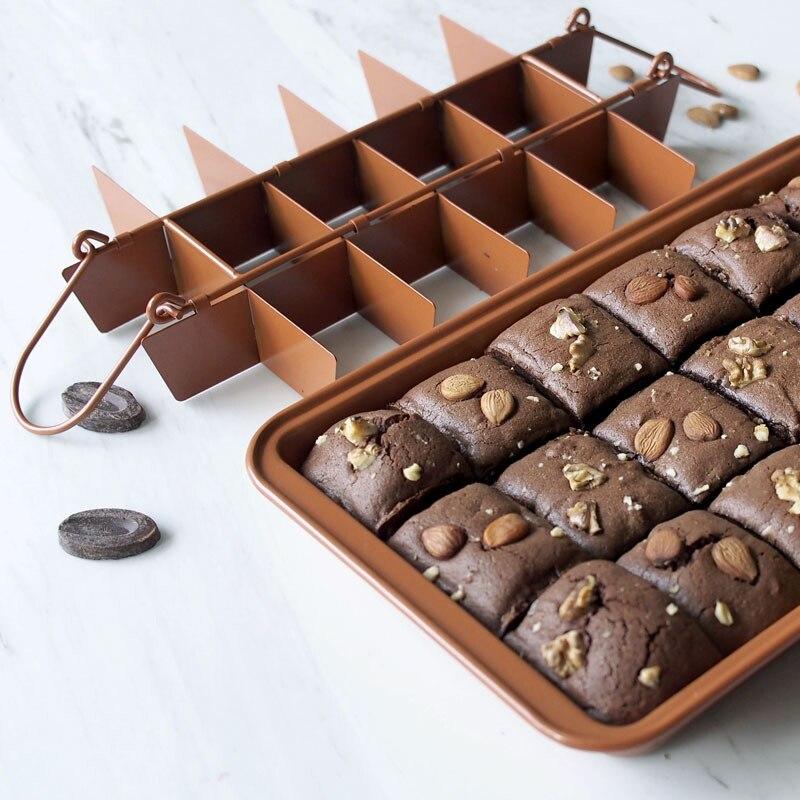 Casseroles à gâteau antiadhésives avec séparateurs 18 plaques de cuisson à Brownie pré-coupées J99Store