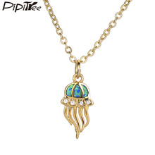 Pipitree Trendy Blue Fire Opal Jellyfish Pendant Necklace Copper Chain CZ Zircon Brand Necklaces for Women Girls Jewelry Gift(China)