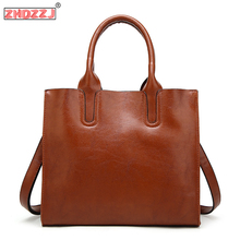 цена на Women Leather Bags Women's Vintage Handbag Casual Female Bag High Quality Trunk Tote Ladies Shoulder Bag Large Messenger bag