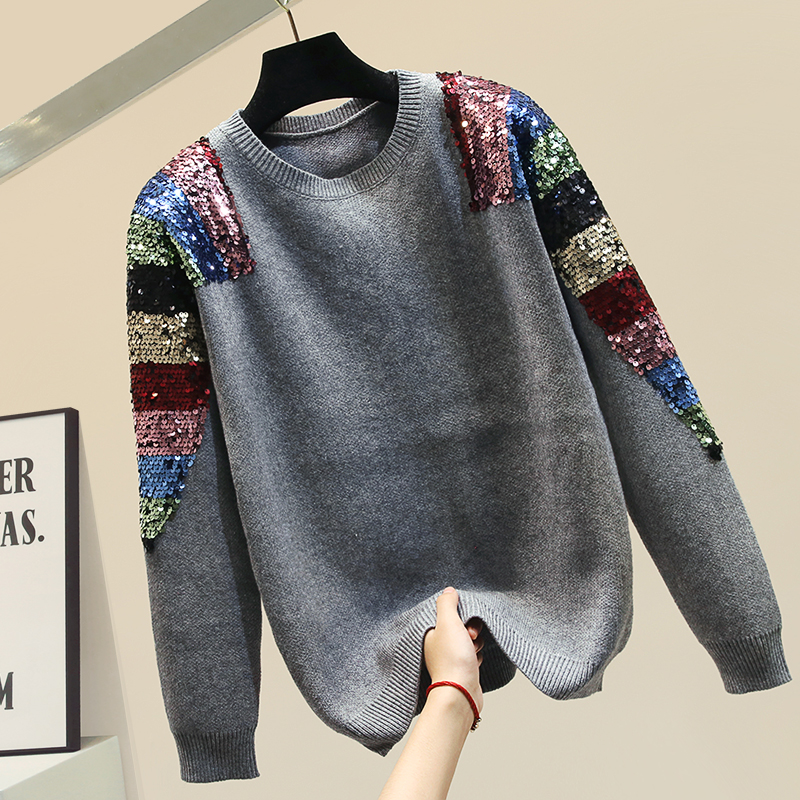 Colorful Sequin Sweater Women Autumn Sweater Outfits Women's New Winter Sequined Long-Sleeve Thick Warm Knit Top Loose Sweater