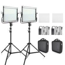 Travor – Kit d'éclairage studio bicolore LED, 3200-5600K, CRI96, 2 pièces, lumière à intensité variable pour prise de photographie et vidéo, shooting, avec support en U